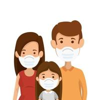 parents with daughter using face mask vector
