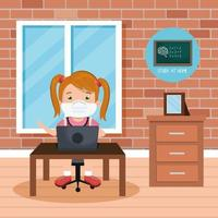 stay at home campaign with girl studying online vector