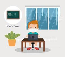 stay at home campaign with boy studying online vector