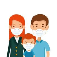 parents with son using face mask vector