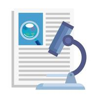 microscope and document with particles covid 19 vector