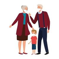grandparents with grandchild using face mask vector