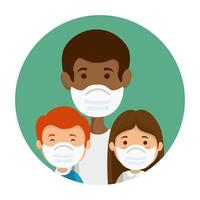 father with children using face mask vector