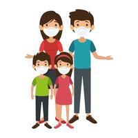 padres con hijos usando mascarilla vector