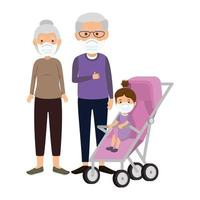 grandparents with granddaughter using face mask vector