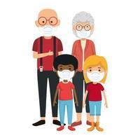 grandparents with grandchildren using face mask vector