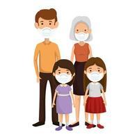 lindo grupo familiar usando mascarilla