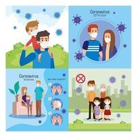 Establecer escenas de familias usando mascarilla y partículas covid 19