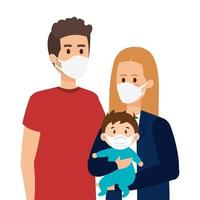parents with baby using face mask vector