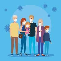 linda familia grupal usando mascarilla con partículas covid 19
