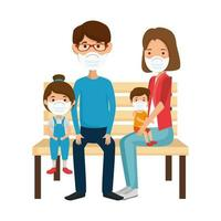 parents with children using face mask sitting in chair park vector