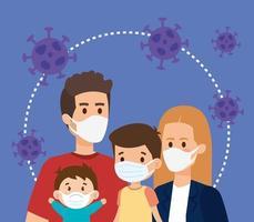 padres con hijos que usan mascarilla y partículas covid 19 vector