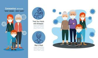 set scenes of stay at home campaign with families vector