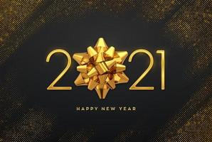 Happy New 2021 Year. Golden metallic luxury numbers 2021 with golden gift bow on shimmering background. Bursting backdrop with glitters. Greeting card, festive poster or holiday banner. vector