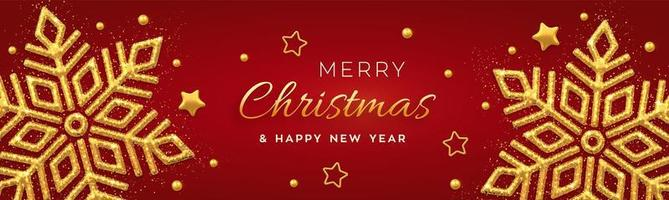 Christmas red background with shining golden snowflakes, gold stars and beads. Merry christmas greeting card. Holiday Xmas and New Year poster, web banner. vector