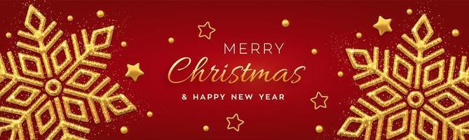 Fondo rojo navideño con brillantes copos de nieve dorados, estrellas doradas y perlas. feliz navidad tarjeta de felicitación. cartel de vacaciones de navidad y año nuevo, banner web. vector