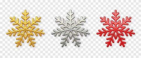 Snowflakes set. Sparkling golden, silver and red snowflakes with glitter texture isolated on background. Christmas decoration. vector