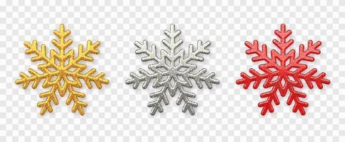 conjunto de copos de nieve. copos de nieve dorados, plateados y rojos brillantes con textura de brillo aislado en el fondo. Decoración navideña.
