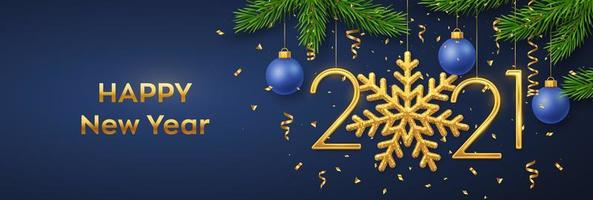 Happy New 2021 Year. Hanging Golden metallic numbers 2021 with snowflake, balls, pine branches and confetti on blue background. New Year greeting card or banner template. Holiday decoration.