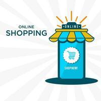 Online shopping banner template vector