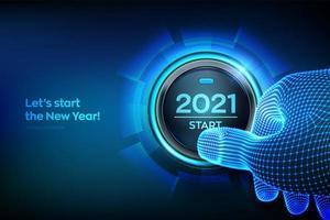 Inicio 2021. dedo a punto de presionar un botón con el texto 2021 start. Feliz año nuevo. Año nuevo dos mil veintiuno se acerca el concepto. vector