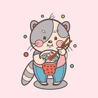 gatito gris con comida callejera asiática vector