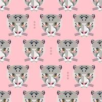 Seamless pattern with leopard faces vector