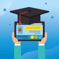 graduación de educación en línea con dispositivo de tableta vector