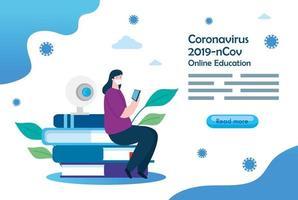 mujer estudiando en línea sentado en la pila de libros vector