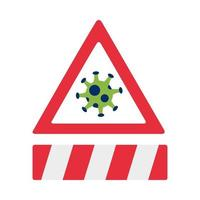 covid19 pandemic particle in alert sign