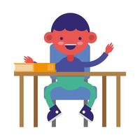 little student boy in desk with book vector