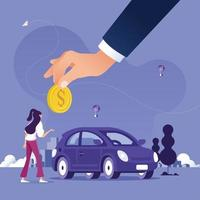 Big hand of agent holding coin to buy car from woman-Car rental or sale concept vector