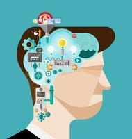 Brainstorming businessman creates idea in head vector