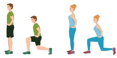 Man and woman doing forward lunges. vector