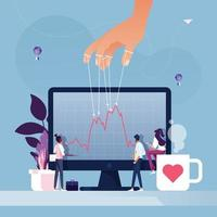 Puppeteer hand manipulates stock price  vector