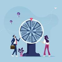Business people with wheel of fortune-Business concept vector