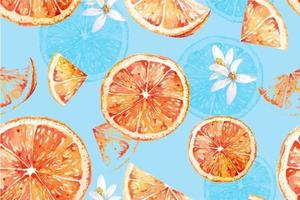 Seamless watercolor pattern of tangerines vector