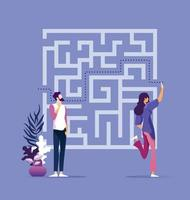 Business solution concept with business woman finding way through maze vector