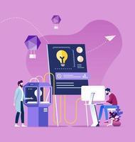 Teamwork brainstorming process generating new idea vector