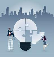 Business people completing an idea light bulb puzzle - Illustration vector