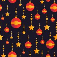 Holiday seamless pattern with golden stars and red globes.