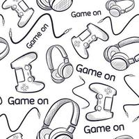 Geek seamless pattern with gamepads and headphones. vector
