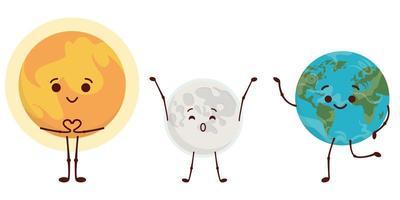 Sun, Moon and Earth.
