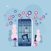 concepto de adicción a las redes sociales: prisionero de teléfono móvil