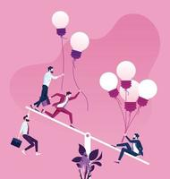 A single person with a lot of ideas is heavier than a group of people on a seesaw scale vector