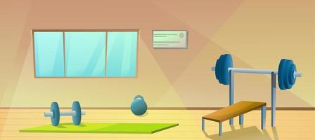 Gym with window. Sport interior with barbells. Healthy fitness room. Vector