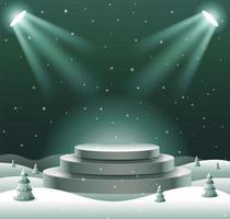 Abstract Podium Mock up, Show product Display, Christmas, Happy New Year, Vector Illustration.