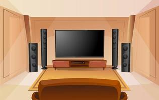 Home theater in cartoon style with big TV. Room with sofa. Modern interior. Acoustic stereo sound. vector