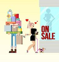 shopping woman and boyfriend holding packages vector