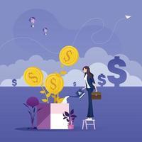 concepto de crecimiento empresarial-empresaria nutriendo un árbol de dólar con regadera vector